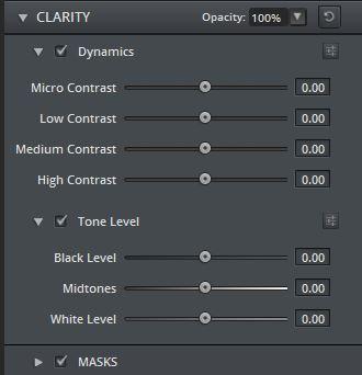 Die Einstellmöglichkeiten von Clarity.
